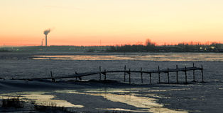 Winter view on the  Volkhov river after sunset Stock Images