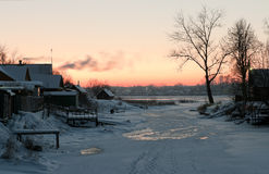 Winter view on the  Volkhov river after sunset Royalty Free Stock Images
