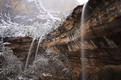 Winter view of a waterfall in Zion Canyon Stock Image