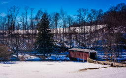 Winter view of White Rock Forge Covered Bridge in Lancaster Coun Stock Photo