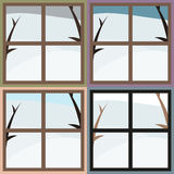 Winter view from the window, 4 colors Stock Photos