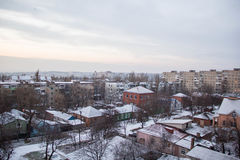 Winter view from the window with houses Royalty Free Stock Images