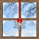 Winter view from wooden window Stock Images