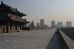 Winter view, Xi'an Xian City Wall - Shaanxi Province China Stock Photo