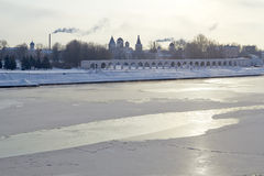 Winter View of the Yaroslav's Court in Veliky Stock Photos