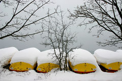 Winter view with yellow boats Stock Photos
