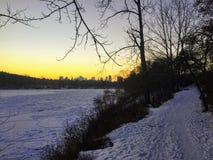 Winter views of Edmonton along the north Saskatchewan river. During sundown stock photo