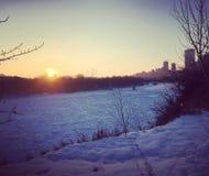Winter views of Edmonton along the north Saskatchewan river. During sundown stock photos