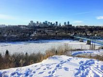 Winter views of Edmonton along the north Saskatchewan river. On a sunny day stock images