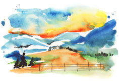 Winter village. Landscape (Uma painting Royalty Free Stock Photo