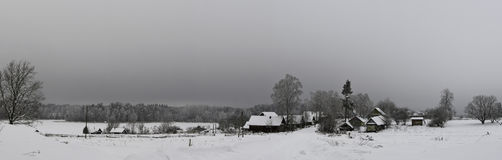 Winter in the village. Pskov region, Russia Royalty Free Stock Image