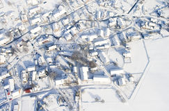 Winter village. Snow covered winter village in central Europe,air view Royalty Free Stock Photos