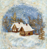 Winter village, application Royalty Free Stock Images