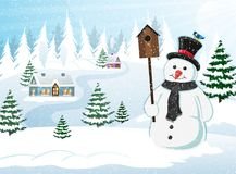 Christmas Scene Winter Landscape Royalty Free Stock Photography