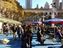 The Winter Village at Bryant Park, If You See Something, Say Something, NYC, USA stock photography