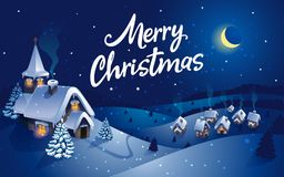 Winter village, christmas background, greeting card. Vector Stock Image