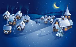 Winter village, christmas background, greeting card. Vector Royalty Free Stock Photo