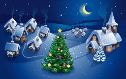 Winter village, christmas background, greeting card. Vector Royalty Free Stock Photography