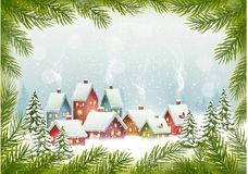 Winter village Christmas Holiday background. Stock Photography