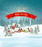 Winter village Christmas Holiday background. Royalty Free Stock Images