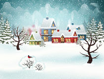 Winter village. Christmas holidays. Evening city winter landscape with snow covered houses and christmas tree. Christmas holidays vector illustration vector illustration