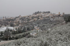 Winter village covered by snow Royalty Free Stock Images