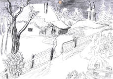 Winter village drawing. Beautiful landscape of winter village, pencil drawing Stock Image