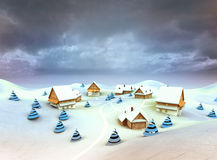 Winter village environment dark sky evening Stock Photography