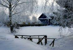 Winter village, evening Stock Photo