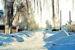 Winter in the village. The frosty winter came to the villages of Altai Stock Photography