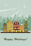 Winter village greeting card. A vector illustration of a village in the winter greeting card Royalty Free Stock Image