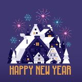 Winter Village Happy New Year Card. Happy New Year card with winter village and fireworks. Snowy Christmas houses flat landscape congratulation postcard with Alp royalty free illustration