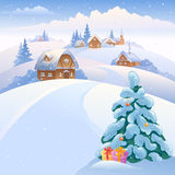 Winter village on the hills. Illustration with a beautiful snowy village on the hills Royalty Free Stock Image