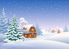 Winter village. Illustration of a snow covered village Stock Photo