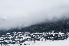 Winter village - Italian Livigno stock photography