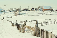 In the winter in the village. Kitchen gardens of inhabitants became covered by white snow Stock Photography