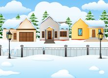 Winter village landscape background with snow covered house Stock Photo