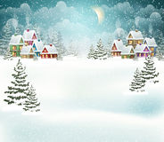 Winter village landscape Royalty Free Stock Photos