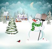 Winter village landscape. Holidays evening Royalty Free Stock Photo