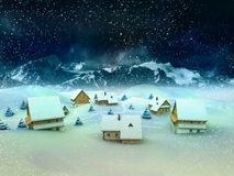 Winter village landscape with mountains and snowfall Stock Photo