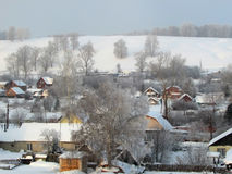 Winter in the village Stock Photo