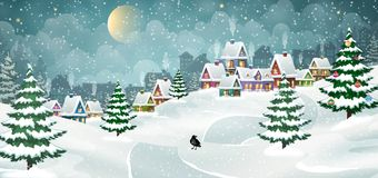 Winter village landscape Royalty Free Stock Image