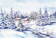 Winter village landscape. Watercolor painting: winter village landscape Stock Photography