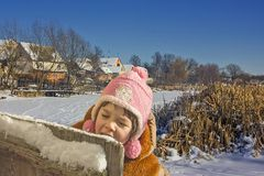 The winter in village. Royalty Free Stock Photo