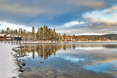 Winter village on a mountain lake Idaho Royalty Free Stock Photos