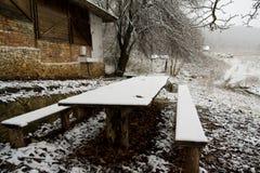 Winter village outdoor stock photo