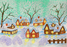 Winter village, painting. Hand painted Christmas - New Year postcard, watercolours and acrylic: winter landscape with village houses and trees on green sky Royalty Free Stock Image