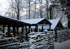 Winter village,  pavilions in snow Royalty Free Stock Image