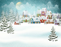 Winter village in the pine forest Stock Photo