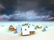 Winter village resort dark sky evening Stock Photography